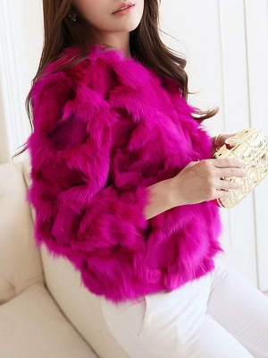 Shift 3/4 Sleeve Casual Fluffy Fur and Shearling Coat_1
