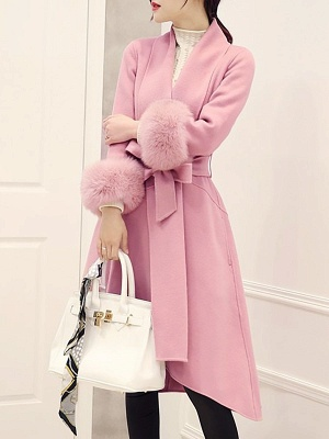 High Low Bow Asymmetric Solid Fur And Shearling Coats_2