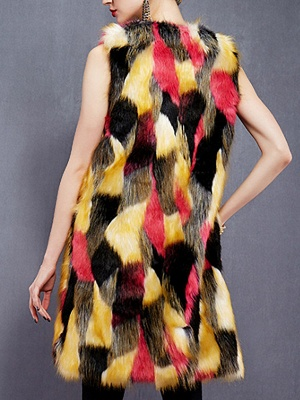 Red Sleeveless Color-block Fluffy  Fur and Shearling Coat_3