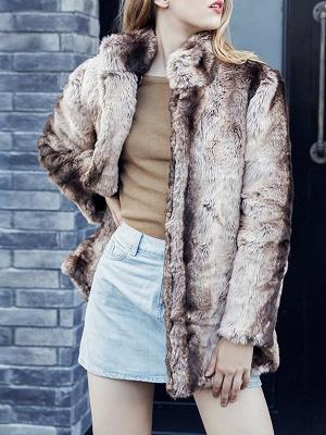 Yellow Long Sleeve Shift Fur and Shearling Coat_6