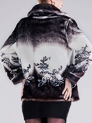 Floral-print Ombre/Tie-Dye Fur and Shearling Coat_4