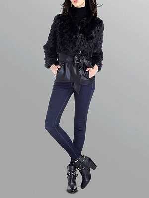 Black Casual Paneled Faux Fur Solid Fur and Shearling Coat_4