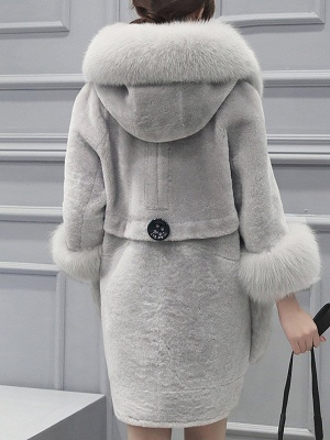 Buttoned Pockets Fluffy Paneled Fur and Shearling Coat_5