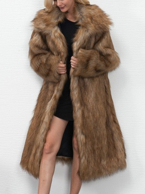 Long Sleeve Solid Crew Neck Fluffy  Fur and Shearling Coat_6
