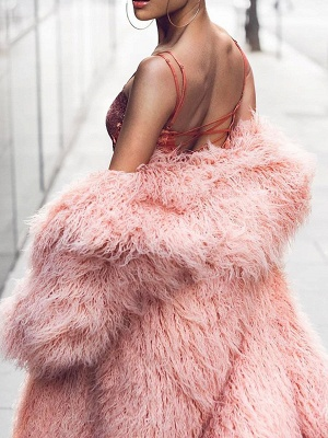 Fluffy Long Sleeve Casual Fur and Shearling Coat_4
