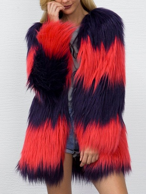 Casual Solid Color-block Fluffy Fur and Shearling Coat_7