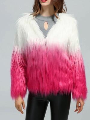 Faux Fur Shift Long Sleeve Casual Fur and Shearling Coat_6