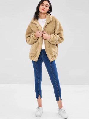 Camel Pockets Zipper Fur and Shearling Coat_5