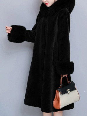 Casual Long Sleeve Hoodie Fur and Shearling Coat_2