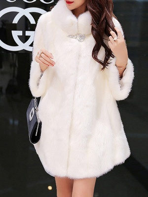 Long Sleeve Solid Shift Fluffy Fur and Shearling Coat_1