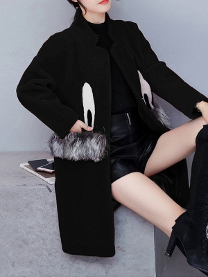 Pockets Fluffy Buttoned Fur and Shearling Coat_3
