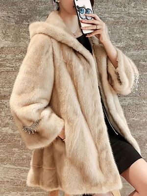 Beige Hoodie Fluffy  Pockets Fur and Shearling Coat_5