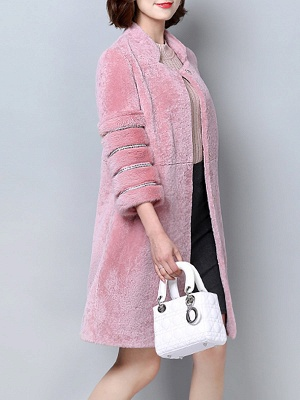 Long Sleeve Pockets Casual Solid Fur and Shearling Coat_4