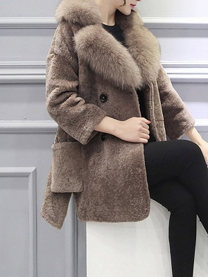 Fluffy Paneled Buttoned Pockets Fur and Shearling Coat_8