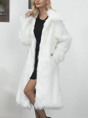 Long Sleeve Solid Crew Neck Fluffy  Fur and Shearling Coat_2