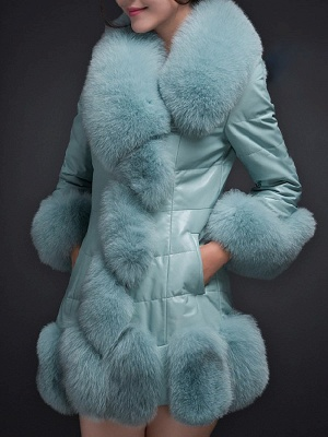 Fluffy Pockets Buttoned A-line Fur and Shearling Coat_1