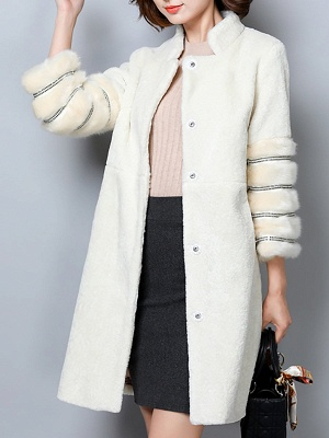 Long Sleeve Pockets Casual Solid Fur and Shearling Coat_9