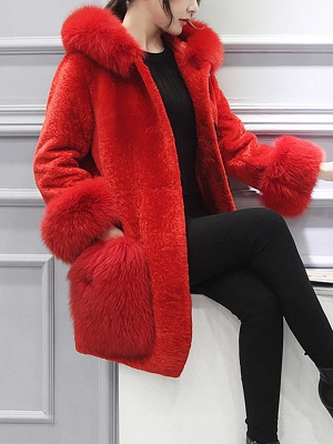 Buttoned Pockets Fluffy Paneled Fur and Shearling Coat_7