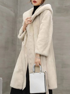 Solid Shift Long Sleeve Bow Casual Fur and Shearling Coat_8