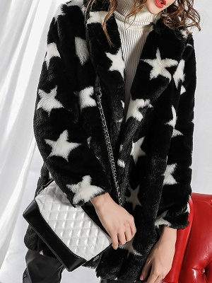 Black Buttoned Casual Graphic Shift Fur and Shearling Coat