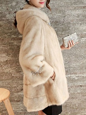 Beige Hoodie Fluffy  Pockets Fur and Shearling Coat_4