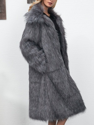 Long Sleeve Solid Crew Neck Fluffy  Fur and Shearling Coat_5