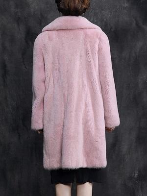 Shawl Collar Casual Long Sleeve Fur and Shearling Coat_5