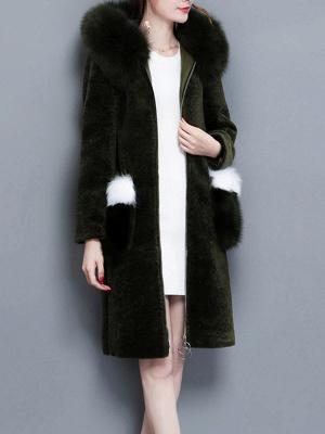 Shift Zipper Pockets Hoodie Fur and Shearling Coat_10