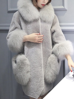Buttoned Pockets Fluffy Paneled Fur and Shearling Coat_9