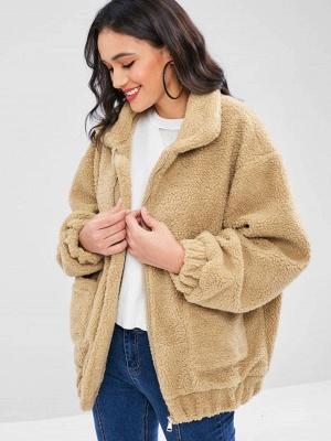 Camel Pockets Zipper Fur and Shearling Coat_4