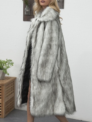 Long Sleeve Solid Crew Neck Fluffy  Fur and Shearling Coat_9