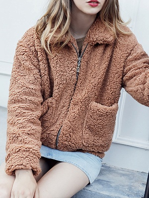 Casual Solid Shift Long Sleeve Fur and Shearling Coat_9