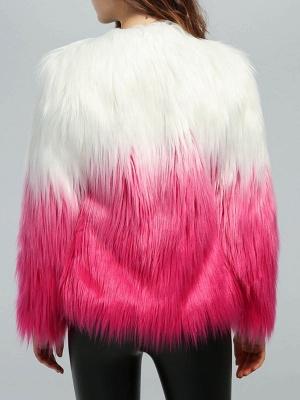 Faux Fur Shift Long Sleeve Casual Fur and Shearling Coat_3