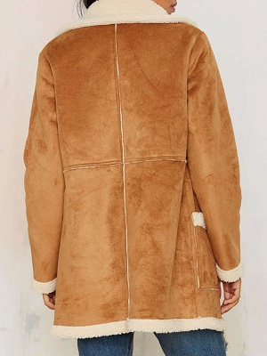 Brown Shift Shawl Collar Buttoned Casual Fur and Shearling Coat_3