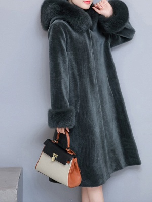 Casual Long Sleeve Hoodie Fur and Shearling Coat_3