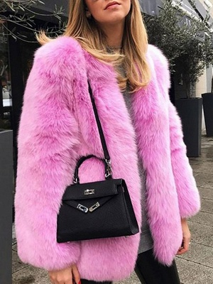 Long Sleeve Casual Fluffy  Fur and Shearling Coat
