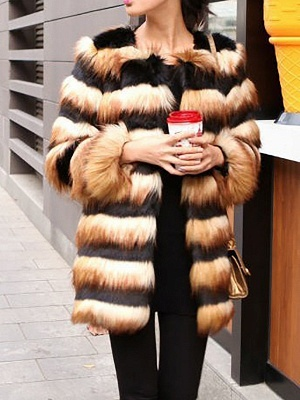 Black-Yellow Long Sleeve Faux Fur Shift Striped Casual Fur and Shearling Coat_1