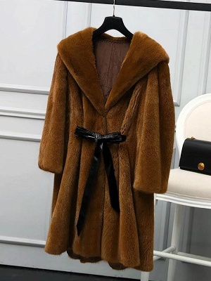 Solid Shift Long Sleeve Bow Casual Fur and Shearling Coat_9