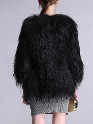Black Fluffy Crew Neck Casual 3/4 Sleeve Fur and Shearling Coat_3