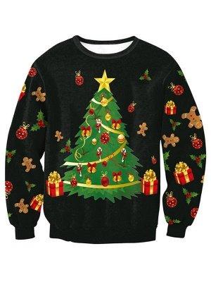 Casual Black Printed Long Sleeves Christmas Sweatshirt For Women