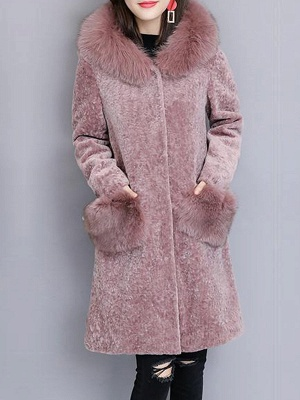 Casual Buttoned Long Sleeve Hoodie Fur and Shearling Coat
