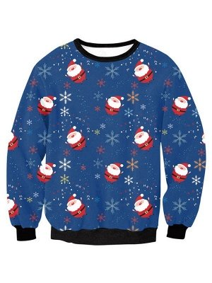 Women's Blue Santa Claus Snowflake Printed Long Sleeves Casual Christmas Sweatshirt