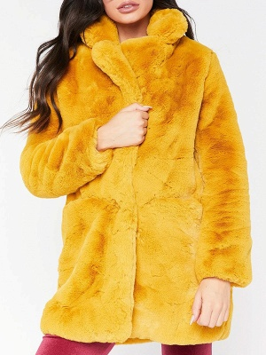 Long Sleeve Pockets Fluffy Fur and Shearling Coat