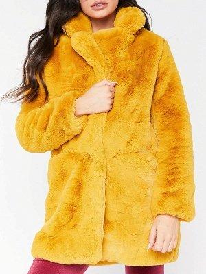 Long Sleeve Pockets Fluffy Fur and Shearling Coat