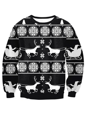 Women's Casual Black Elk Snowflake Printed Long Sleeves Christmas Sweatshirt
