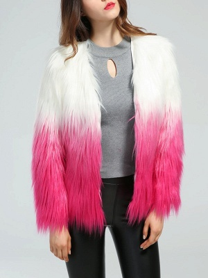 Faux Fur Shift Long Sleeve Casual Fur and Shearling Coat