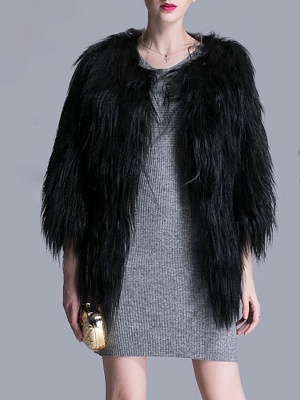 Black Fluffy Crew Neck Casual 3/4 Sleeve Fur and Shearling Coat