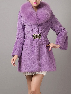 Casual Shawl Collar Beaded Shift Long Sleeve Fur and Shearling Coat