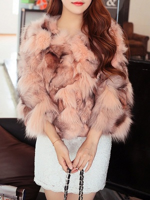3/4 Sleeve Paneled Fluffy  Fur and Shearling Coat