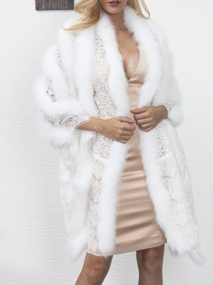 Guipure lace Paneled Fluffy Fur and Shearling Coat